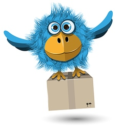 Blue bird with a box vector