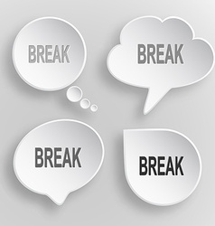 Break White flat buttons on gray background vector image vector image