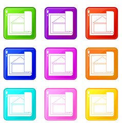 building plan icons 9 set vector image