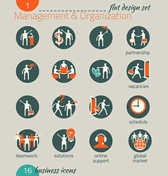 Business icon set Management human resources vector image