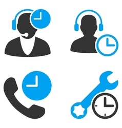 Call Center Service Time Flat Bicolor Icons vector image