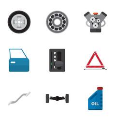 Flat icon workshop set of coupler motor vector