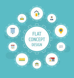 flat icons blueprint pin sold and other vector image