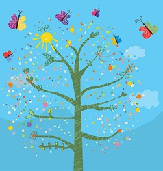 Funny card with tree and butterflies vector image vector image