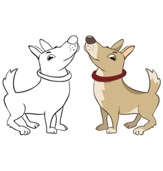 funny dog color and outline image vector image vector image