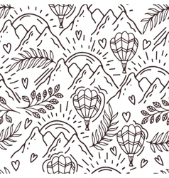 Hand drawn pattern with a balloon and mountains vector
