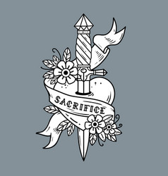 heart pierced with ancient dagger sacrifice vector image