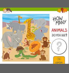 how many animals game for kids vector image vector image