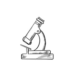 Laboratory optical microscope icon sketch vector