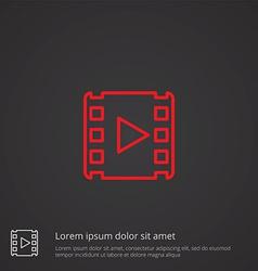 Media outline symbol red on dark background logo vector