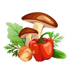 Mushrooms sweet peppers onions cucumber vector image