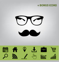 Mustache and glasses sign black icon at vector