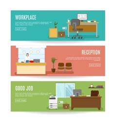 Office Horizontal Banners Set vector image vector image
