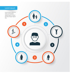 People icons set collection of family ladder vector