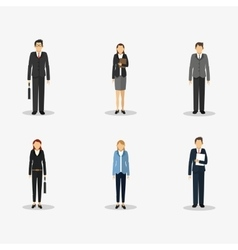 People in suit with business related icons image vector