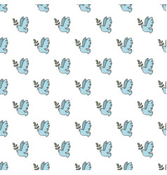 Pigeon with olive branch pattern seamless vector