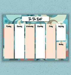 Retro weekly planner vector