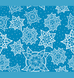 Seamless blue flower pattern vector