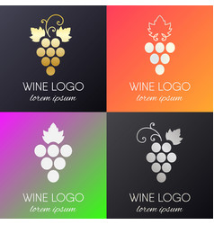 Set of grapes logo vector