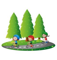 three kids riding bikin on road vector image