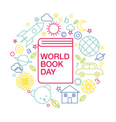 world book and copyright day logo icon line vector image