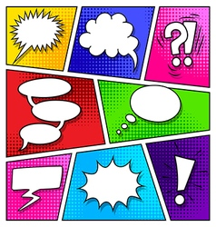 Speech bubbles on comic book page vector