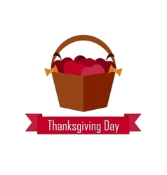 apple basket on Thanksgiving Day flat vector image