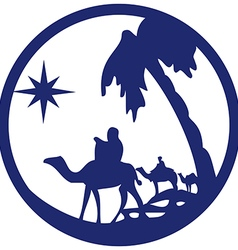 Adoration of the magi silhouette icon blue white vector