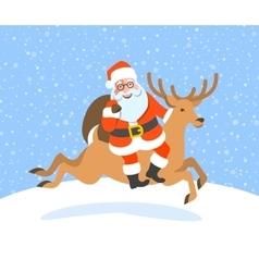 Santa claus with gifts rides on christmas deer vector