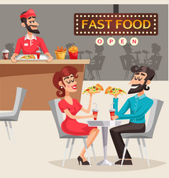 People in fast food restaurant vector
