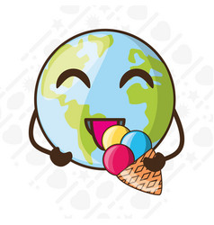 Adorable earth eating ice cream vector