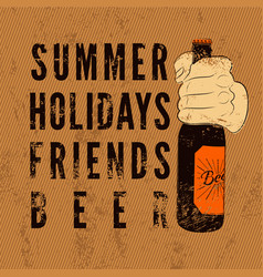 Typographic retro grunge beer poster vector