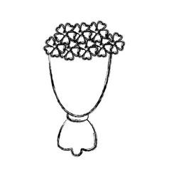 Bouquet flowers romantic ornament wrapped paper vector