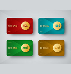 Templates of gift cards with a gold circle for vector