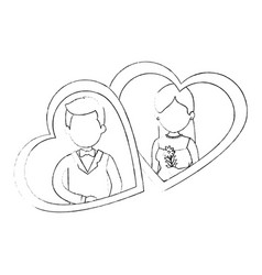 cute couple just married with heart vector image