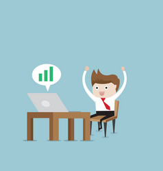 happy businessman working with green up graph vector image