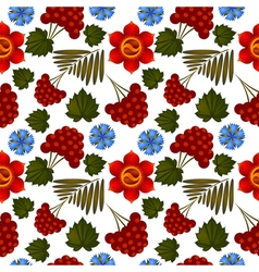 Seamless floral background with ukrainian motifs vector