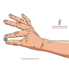 Hand holding some small object put there something vector