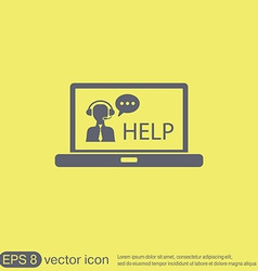 Laptop with customer support vector