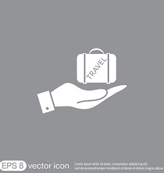 Hand holding a symbol of a suitcase for travel vector