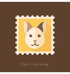 Cat flat stamp animal head vector