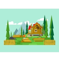 Cottage construction vector image
