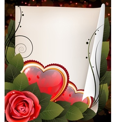 Hearts rose and parchment valentine card vector