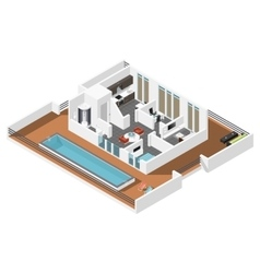 Penthouse apartment isometric icon set vector