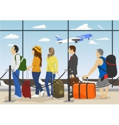 Passengers in queue waiting check-in counters vector