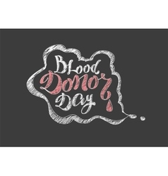 Blood donor day lettering text vector