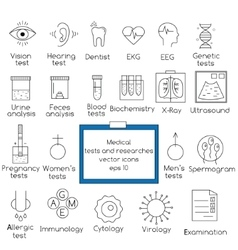 Medical tests and resarches line icons vector