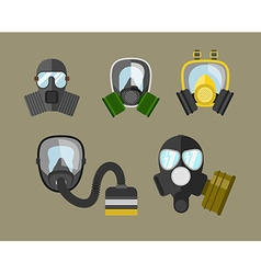 Gas mask icon set vector