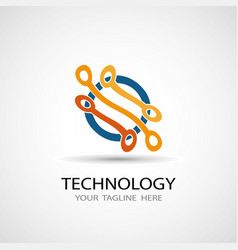 abstract technology icon vector image vector image