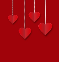Background of hearts hanging on strings - vector image